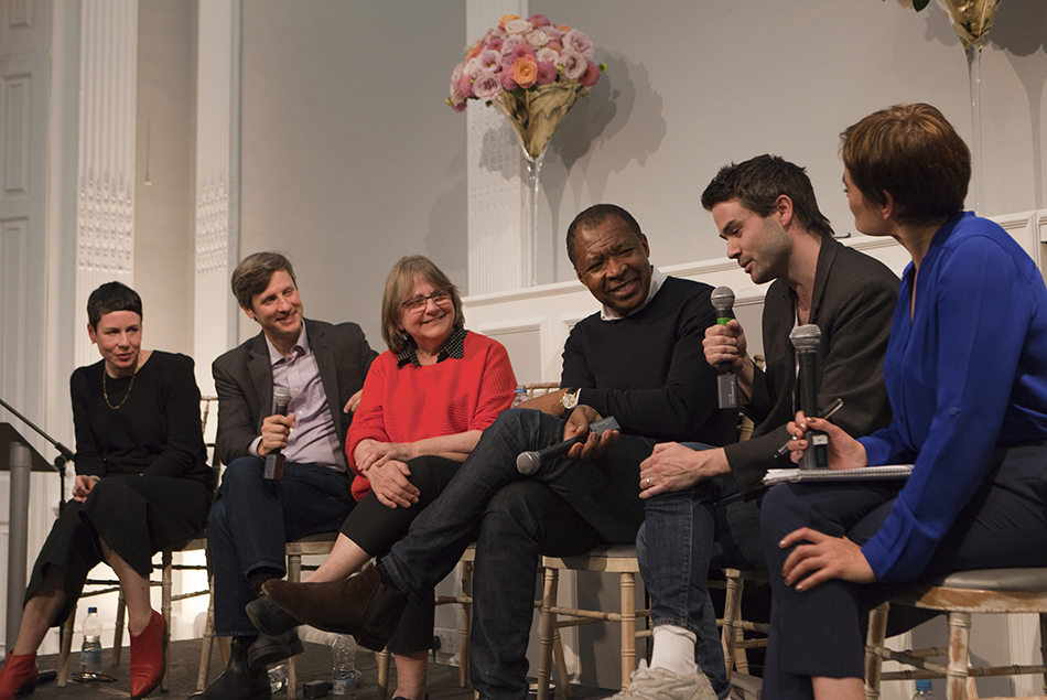 Panelists Eva Rothschild, Jed Morse, Phyllida Barlow, Okwui Enwezor, Michael Dean, and Lisa Le Feuvre partake in a discussion