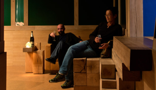 Piero Golia and Edwin Chan in the Chalet Hollywood