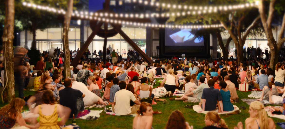 Visitors enjoy movies and music in the Nasher Garden at Spring 'til Midnight at the Nasher