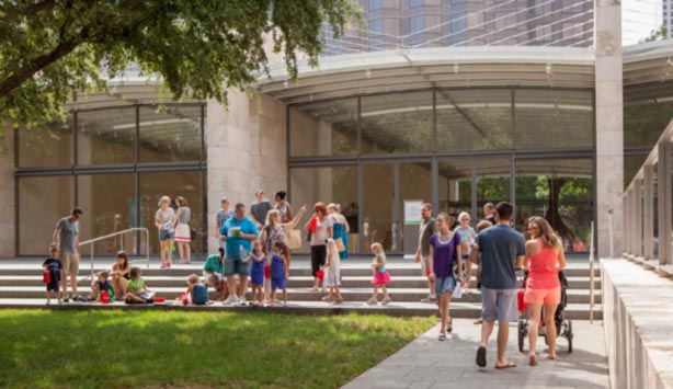 Visitors enjoy the Nasher Garden