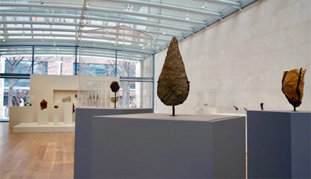 Teardrop Handaxe on display at the Nasher Museum