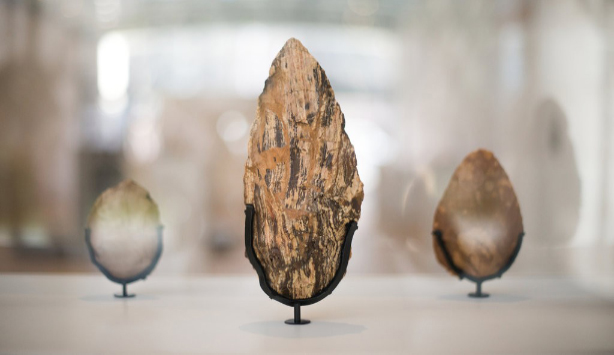 Installation view of one large handaxe and two smaller as part of the First Sculpture Exhibition