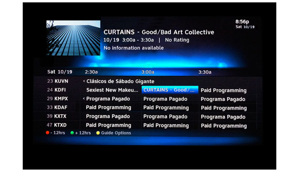 TV Menu displays late-night infomercial CURTAINS by Good/Bad Art Collective part of Nasher XChange
