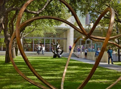 Visitors in the garden at Nasher Sculpture Center with outdoor sculpture