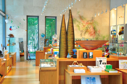 A variety of gifts, books and art on display in the Nasher Store
